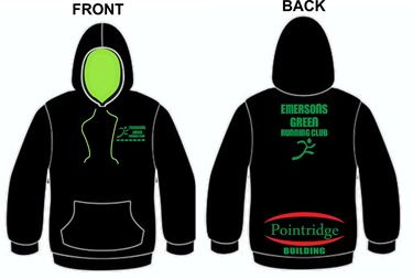 Picture of Emersons Green Running Club Black/ Electric Green Hoodie