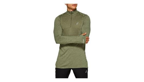 Asics Mens Running Seamless LS 1/2 Zip Top - Mantle Green/ Lichen Green