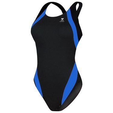 Picture of Tyr Titan Splice Maxback Swimming Costume - Black/Blue