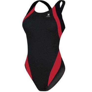 Picture of Tyr Titan Splice Maxback Swimming Costume - Black/Red