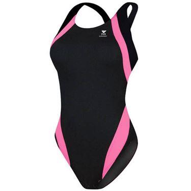 Picture of Tyr Titan Splice Maxback Swimming Costume - Black/Pink