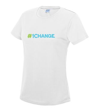 Picture of BSLM - #1CHANGE? - Ladies White Tee